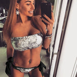 Sexy sequined wrapped chest bikini two-piece set AB face sequin swimsuit ladies