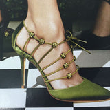 azmodo Green Lace-Up Sexy Stiletto Heels