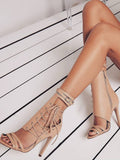 Roman Buckle strap Shoes Women Sandals Sexy Gladiator Lace up Peep Toe Sandals High Heels Woman Ankle Boots