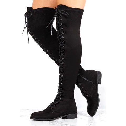 f74aa1c9f05 azmodo Black Suede Cross Strap Block Heel Thigh High Boots