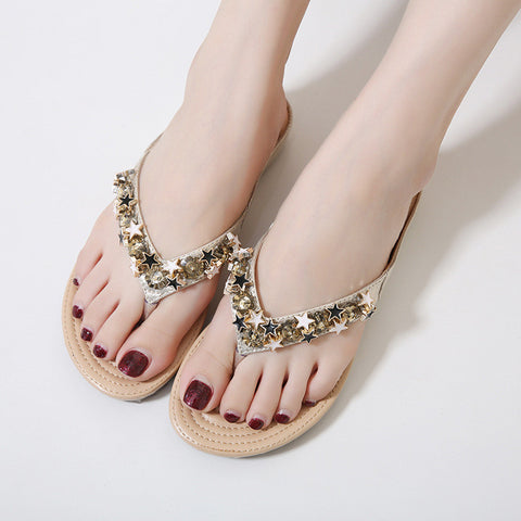 for sale marketable women Diamond Slippers New Beaded Slippers Bohemia Soft Bottom Shoes Women Flat  Sandals A6032