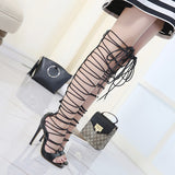 Thigh High Lace Up Sandals Sexy Hollow Cross-strap Boots