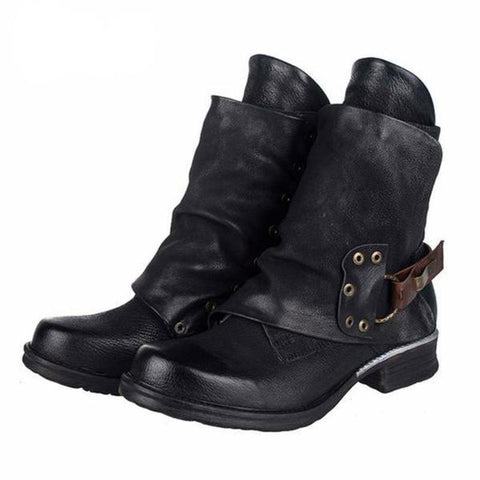 azmodo  Stylish Side Zipper Round Toe Motorcycle Ankle Boots