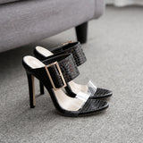 Ladies Heeled Sandals Vogue Slippers Women Leisure PVC Transparent Shoes Sexy Gladiator Sandals Women's High Heel Shoes