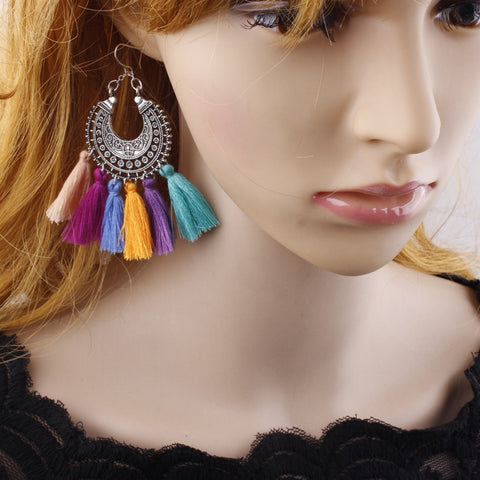 New Women Bohemia Long Tassel Earring Boho Vintage Ear Hook Earrings Jewelry