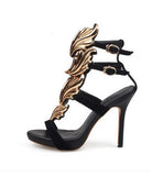 Strappy Stiletto Heel Dress Sandals hollow heel with colored leaf