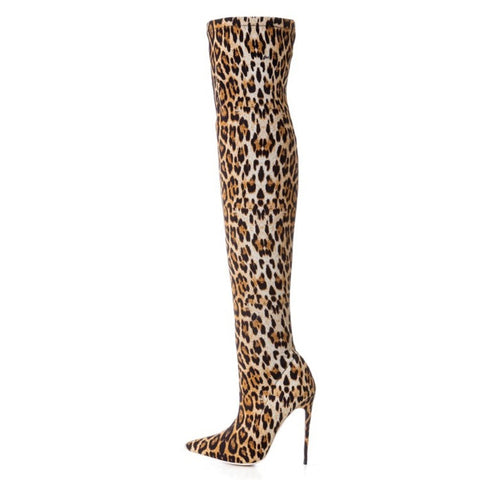 azmodo Leopard Pointed Toe Fashion Thigh High Boots