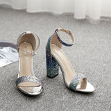 Glittering womens high heels sandals for summer flock buckle chunky heel multicolor fashion party dress ladies shoes sandalias