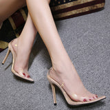 Super high heel sexy transparent pointed single shoes women's shoes
