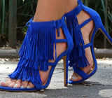 Europe and the United States explosion models fringed with high heel sandals