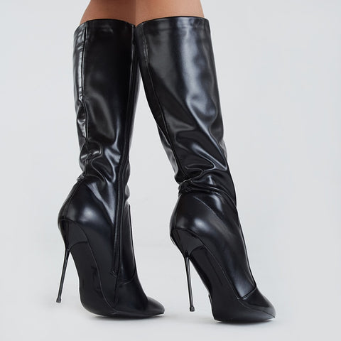 f49b8d65bb8 azmodo Stylish Black Pointed Toe Stiletto Heel Knee High Boots