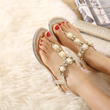 Summer Sandals Women Fashion Beading PU Leather Platform Wedges Sandals Female Shoes Woman 4 Colors Size 35-40 801-1