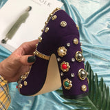 Purple suede leather rhinestone shoes round rough with shallow mouth high heels