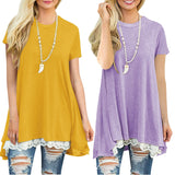 Short-sleeved round neck splicing lace T-shirt New blouse
