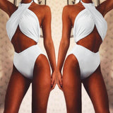 Women's swimwear European and American cross hanging neck solid color split swimsuit women
