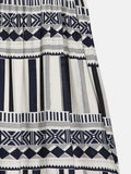 azmodo Zebra-Stripe Knee-Length Pullover Ethnic Casual Dress