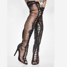 Sexy Over The Knee High Women Fashion Thigh High Boots Gladiator Shoes Woman Boots Lace Up Peep Toe Shoes