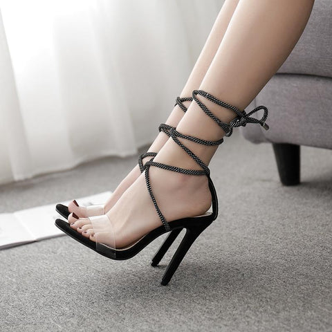 azmodo 2019 Sexy nightclub women's sandals shoes hollow cross tied lace up stilettos high heels sandals thin heel transparent PVC shoes