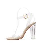 Women Shoes High-Heeled Sandal Transparent PVC High Heels Shoes Woman Ankle Strap Gladiator Sandals Women Shoes sapato feminino