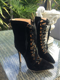 Womens Lace Up High Heel Bootie Gladiator Cut Out Mid Calf  Stiletto High Heel Boots