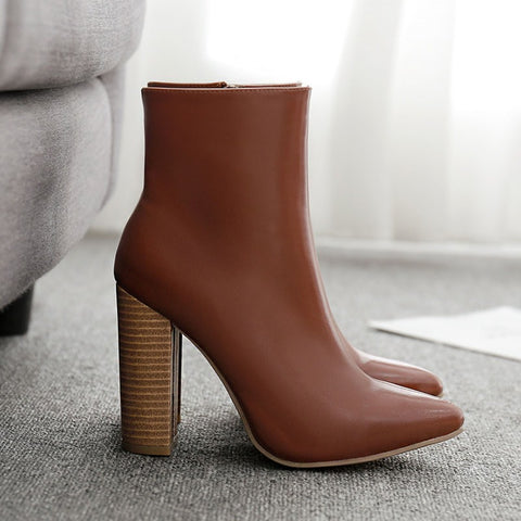 azmodo Stylish Pointed Toe Chunky Heel Side Zipper Casual Boots