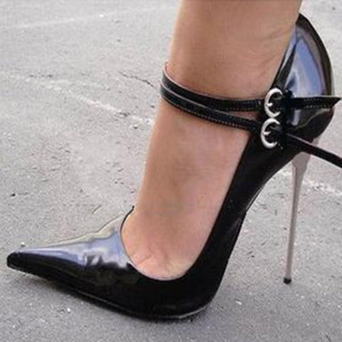 Black Pointed-toe Double Metal Buckles Stiletto Heels