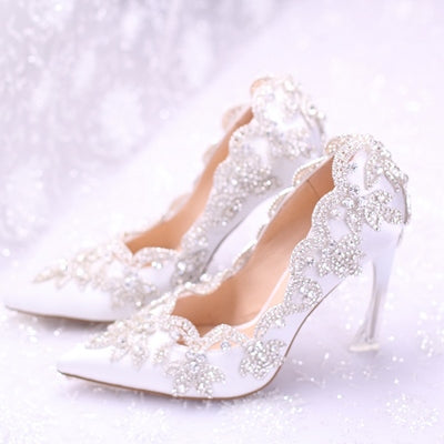 Pretty Rhinestone Silk Bridal Shoes