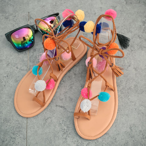f6c2fa863d07 ... Bohemia flower colorful hair ball flip flops and female students newest  style multi-color flat ...