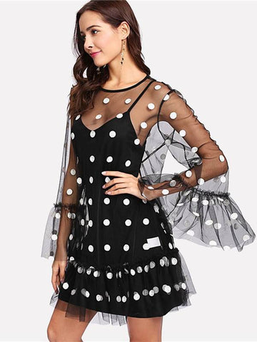 azmodo Long Sleeve Polka Dots Prints Day Dress