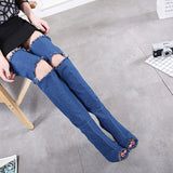 Denim Over the Knee Boots Peep Toe Pumps Woman Thigh Knee High heel Boots Shoes Plus Size my927-3GZ