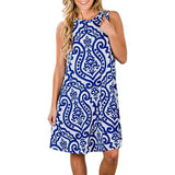 Womens Crew Neck Printed Sleeveless Casual Tunic Tops Summer Swing Tee Shirt Dress with Pockets