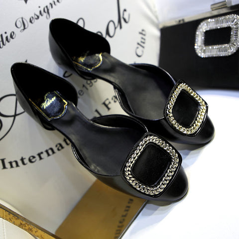Elegant Square Buckle Flats Wedding Shoes Shallow