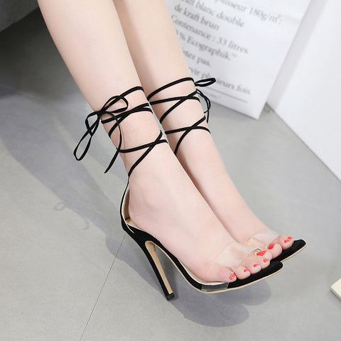 Europe and the United States foreign trade explosion models with transparent sexy high heel strap sandals