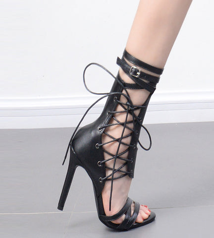 4c6f734367e ... Roman Buckle strap Shoes Women Sandals Sexy Gladiator Lace up Peep Toe  Sandals High Heels Woman