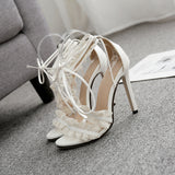 High heel ankle strap white lace women's shoes sandals
