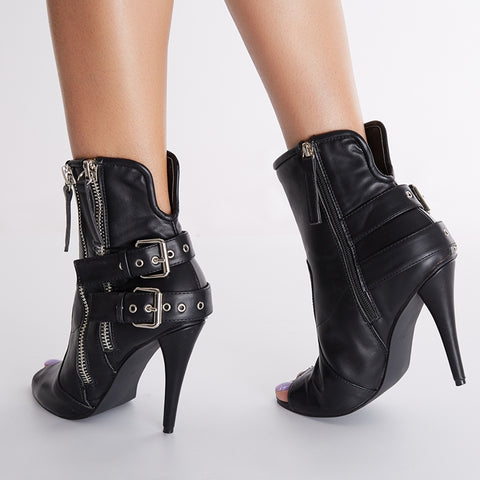 azmodo  Sexy High Heel Shoes Black Peep-toe Boots