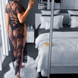 Eyelash lace blouse sexy perspective split deep V sexy dress