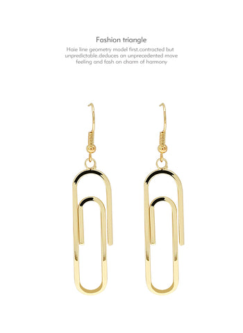 Simple Punk Style Paper Clip Pin Design Geometric Metal Drop Long Earrings 2018 Fashion Korean Jewelry Pendientes Brincos