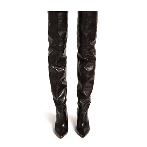 azmodo  Black Shaped Heel Thigh High Boots