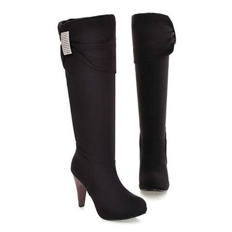 Sweet Girl Rhinestone Stiletto Heel Knee High Boots