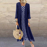 Kimono cardigan Autumn Sleeve Polk Summer Dress Women long dresses Vintage Maxi Dress Plus Size dress women girls vestidos