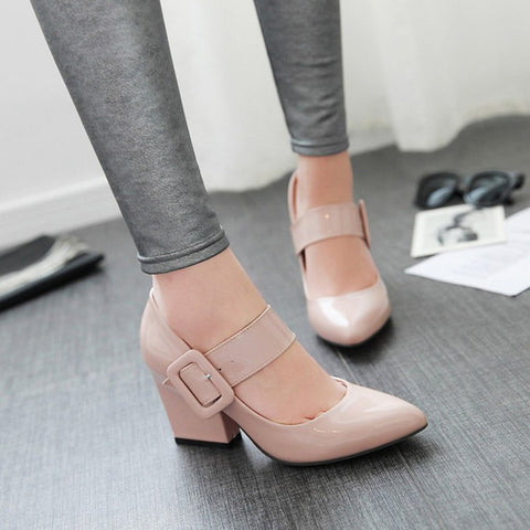 Women Shoes White Pointed Toe Pump High-Heeled Vintage Mary Jane  Thick Heel