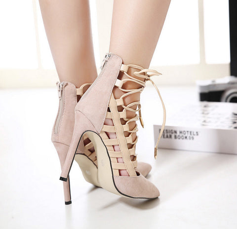 a5c4b6fdebc Female High Fashion Ankle Sandals Chunky Block Medium Heel Pointed suede straps  Pointed Toe femme Sexy