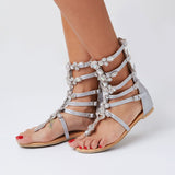 azmodo Crystal Gladiator Sandals Silver Color Plus Size Available