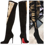 Women Fashion Comfy Suede Block Heel Slip on Thigh High Over The Knee Boot
