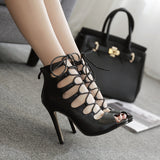 Net red section hollow cross straps sexy high heel sandals Roman shoes
