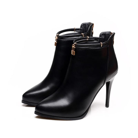 azmodo Platform Plain Pointed Toe Black Ankle Boots