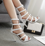 Fashion hollow sexy T-strap high-heeled sandals sandals