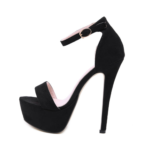 2019 New Sexy Buckle Strap Thin Heel Women Sandals Fashion Cover Heel Ladies Sandals Black Party Shoes Size 35-40