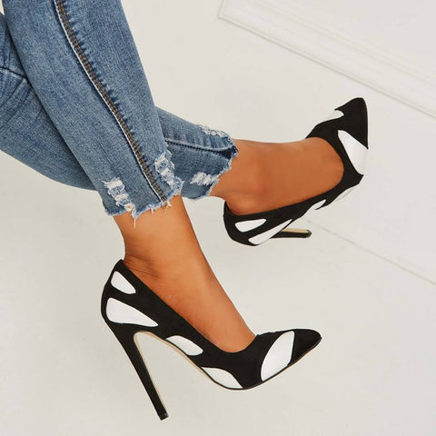 azmodo Patchwork Slip-On Stiletto Heels